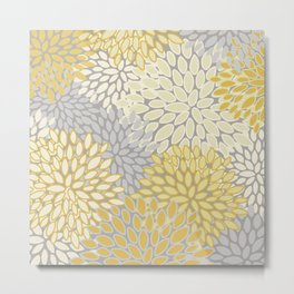 Floral Prints, Soft Yellow and Gray, Modern Print Art Metal Print
