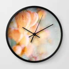 Chinese Lantern Pods and Candlelight Still Life Painterly Wall Clock