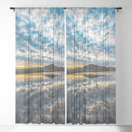 Cloudscape - Scenic Sky Reflection at Lake in Wichita Mountains of Oklahoma Sheer Curtain