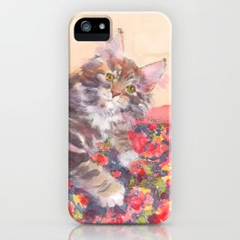 Kitten's Bed of Roses iPhone Case