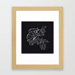 Chalked Roses - Black and White Modern Florals Framed Art Print