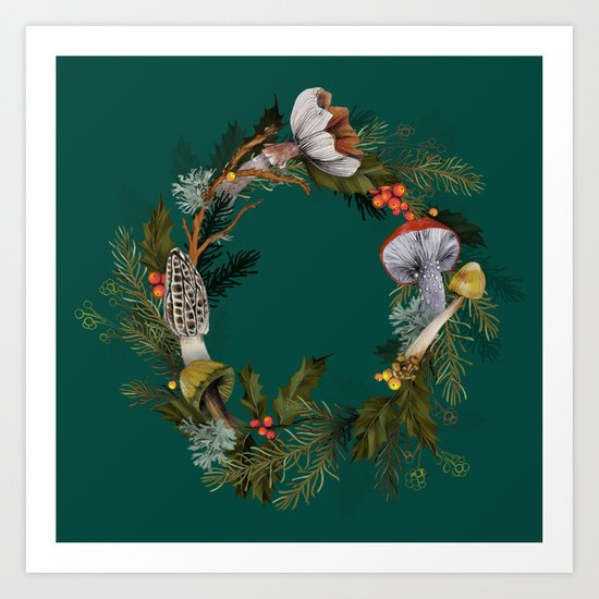 Mushroom Forest Wreath Art Print