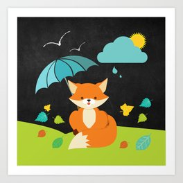 Fox on  Black Chalkboard , Nursery decor Art Print