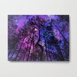 Black Trees Purple Fuchsia Blue space Metal Print