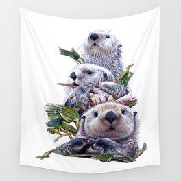 Sea Otter Trio Wall Tapestry