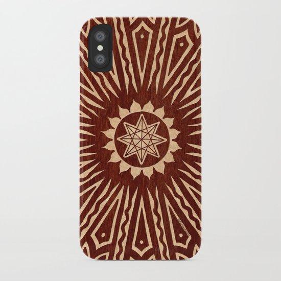 ozorahmi wood mandala iPhone Case