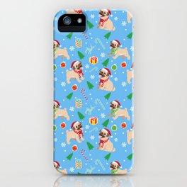 pug christmas pattern iPhone Case