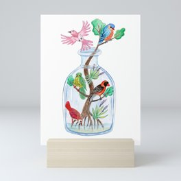 Birds in a Bottle Watercolor Painting Mini Art Print