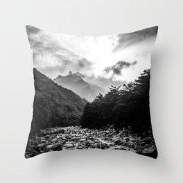 Seoraksan - Black and White Throw Pillow