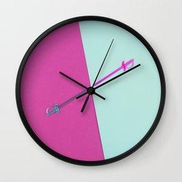 Magenta vs Cyan Wall Clock