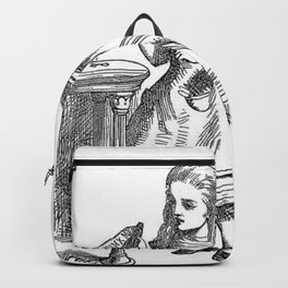 Drink Me vintage Alice in Wonderland emo goth antique book sketch drawing print Backpack