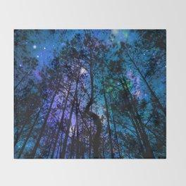 Black Trees Teal Purple Space Throw Blanket