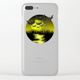 Bats at night in front of a yellow moon Clear iPhone Case