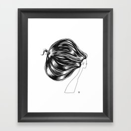 Head of Hair. Black Ink Illustration Framed Art Print