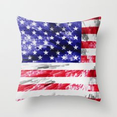 American Flag Extrude Throw Pillow