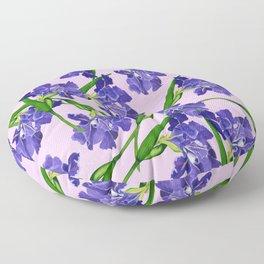 Watercolour Iris pattern pink background Floor Pillow