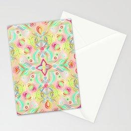 Soft Neon Pastel Boho Pattern Stationery Cards