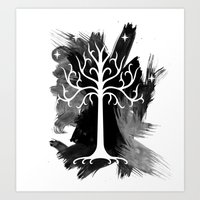 gondor Art Prints featuring White Tree Of Gondor by Icarusdie