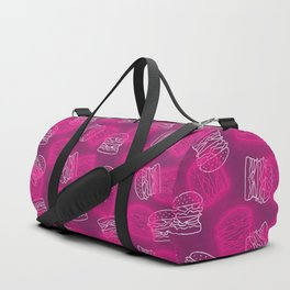 Neon Light Burgers on Pink Duffle Bag