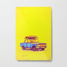 Blue car gradient neon coloring by Ahmet Asar, Asar Studios Metal Print