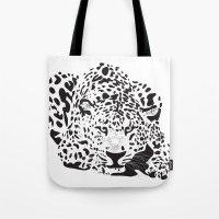 leopard Tote Bags featuring Leopard  by Karen Hischak