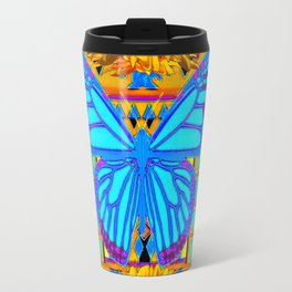Lime Sunflower Blue Butterfly Floral Travel Mug