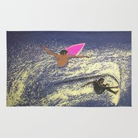 surfing Area & Throw Rugs featuring SURFING by aztosaha