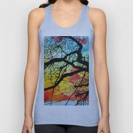 Painting Colorful Landscape Trees Nature Unisex Tank Top