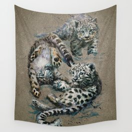 Snow leopard 2 background Wall Tapestry