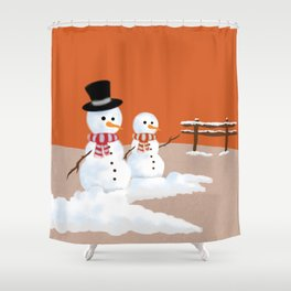 Snowmen orange Shower Curtain