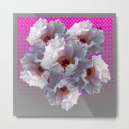 WHITE TREE PEONY FLOWERS FLORAL FUCHSIA-GREY Metal Print