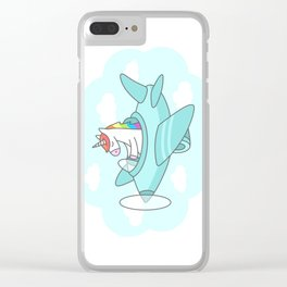 Unicorn Plane Clear iPhone Case