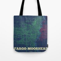 fargo Tote Bags featuring Fargo-Moorhead Street Map by CartoPosters Maps