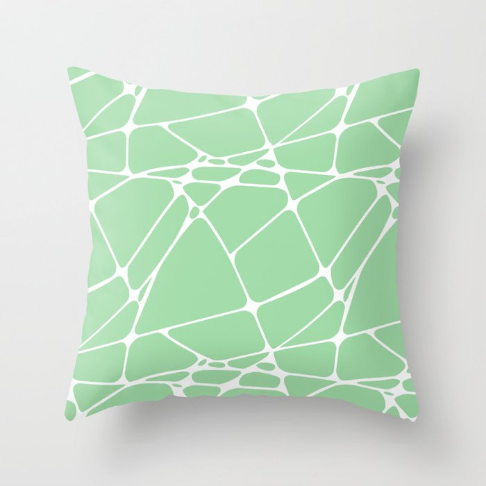 Pastel Green & White Abstract Mosaic Pattern 1 Pairs To 2020 Color of the Year Neo Mint Throw Pillow