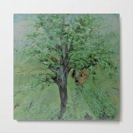 Palette Knife Tree on Wood Metal Print
