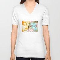 buddah V-neck T-shirts featuring Buddah (Purity) by JackiesGamingArt