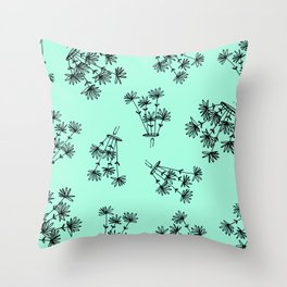 mint flower eaters Throw Pillow