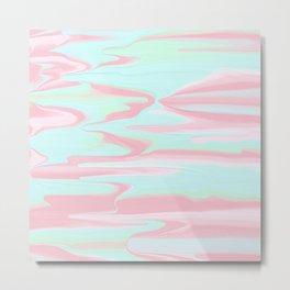 Abstract bush pink teal modern marble pattern Metal Print