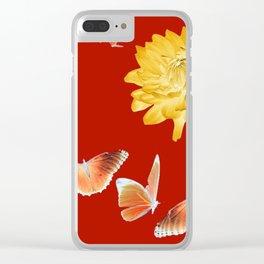 YELLOWISH BROWN DAHLIA FLOWER &  ORANGE BUTTERFLIES ALLURE Clear iPhone Case