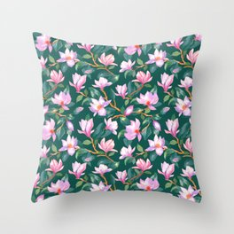 Blooming magnolia Throw Pillow