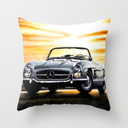 CLASSIC SL300 ROADSTER IN SILVER DURING SUNSET Throw Pillow