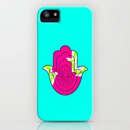 Blue Pop Art and Pink Hamsa Hand iPhone Case