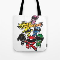 power rangers Tote Bags featuring Power Rangers  by Dik Low