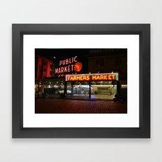 Pike Place Market - Seattle, Washington, USA Travel Night Landscape Photography Framed Art Print