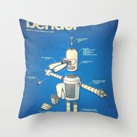 bender Throw Pillows featuring Bender by Enrique Guillamon