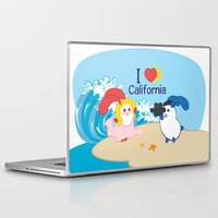 coraline Laptop & iPad Skins featuring Ernest and Coraline | I love California by Hisame Artwork