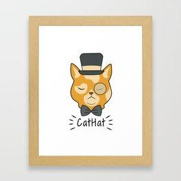 Cat Hat Arrogant Animal Love Pet Gift Framed Art Print