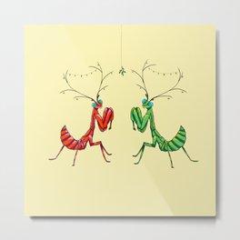 Mistletoe Festive Feelers - Yellow Metal Print