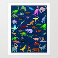 dinosaurs Art Prints featuring Dinosaurs by Raffaella315