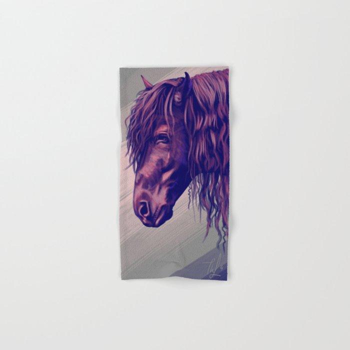 Purple horse portrait Hand & Bath Towel